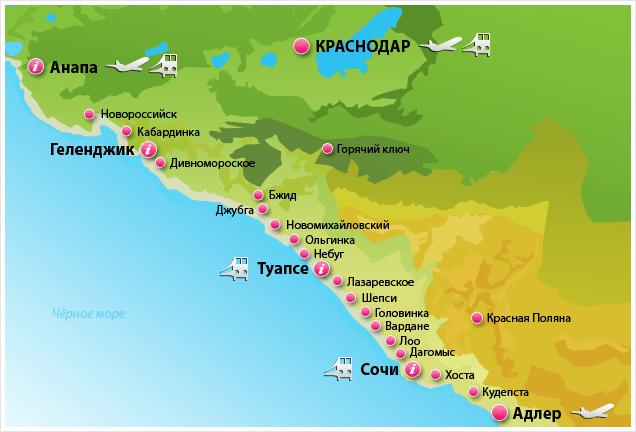 на карте черноморского побережья кабардинка