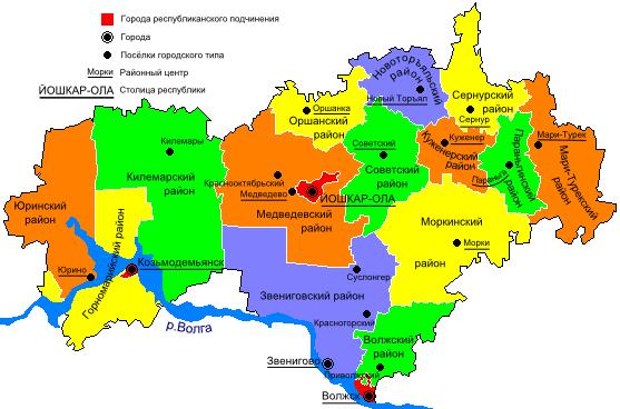 районы марий эл на карте