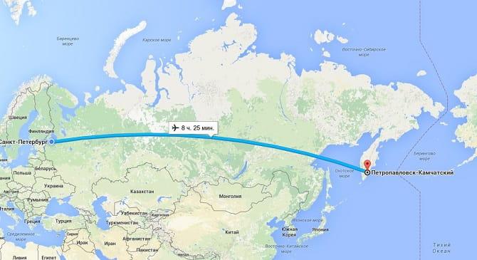 на карте россии петропавловск камчатский