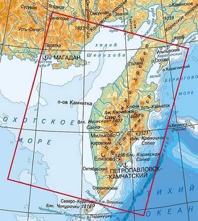 полуостров камчатка на карте россии