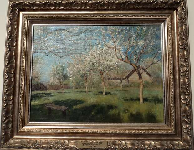 цветущие яблони холст