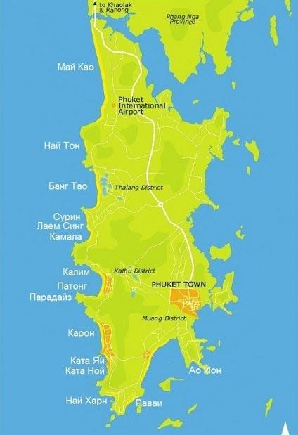 карта острова с пляжами